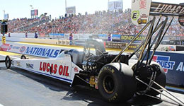 Lucas Oil driver Richie Crampton ready for a long day during Phoenix eliminations