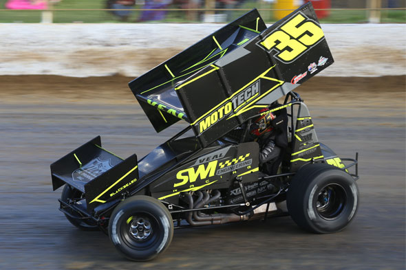 Lucas Oils' Jamie Veal first into 9s at Premier Speedway